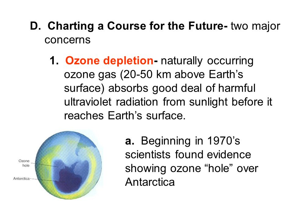 D. Charting a Course for the Future- two major concerns 1. Ozone depletion- naturally occurring ozone gas (20-50 km above Earths surface) absorbs good