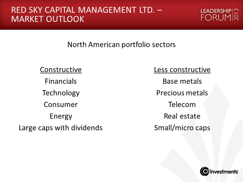 RED SKY CAPITAL MANAGEMENT LTD. – MARKET OUTLOOK North American portfolio sectors Constructive Financials Technology Consumer Energy Large caps with d