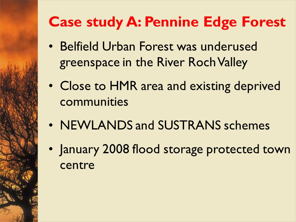 Case study A: Pennine Edge Forest Belfield Urban Forest was underused greenspace in the River Roch Valley Close to HMR area and existing deprived comm