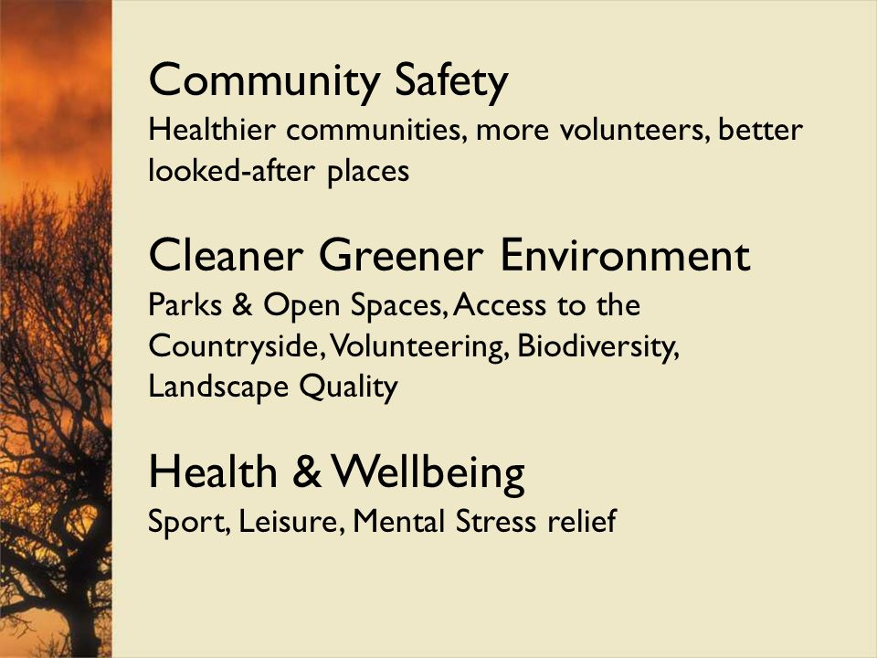 Case study A: Pennine Edge Forest Belfield Urban Forest was underused greenspace in the River Roch Valley Close to HMR area and existing deprived communities NEWLANDS and SUSTRANS schemes January 2008 flood storage protected town centre