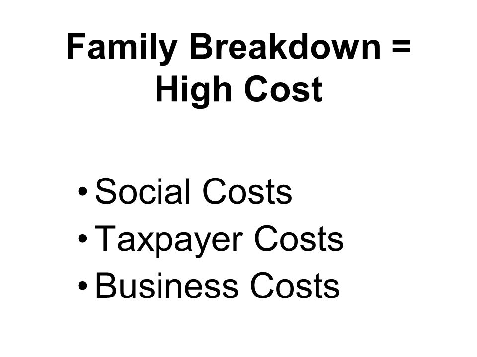 Family Breakdown = High Cost Social Costs Taxpayer Costs Business Costs