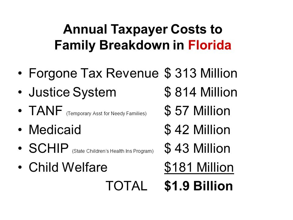 Forgone Tax Revenue $ 313 Million Justice System $ 814 Million TANF (Temporary Asst for Needy Families) $ 57 Million Medicaid $ 42 Million SCHIP (State Childrens Health Ins Program) $ 43 Million Child Welfare $181 Million TOTAL$1.9 Billion Annual Taxpayer Costs to Family Breakdown in Florida