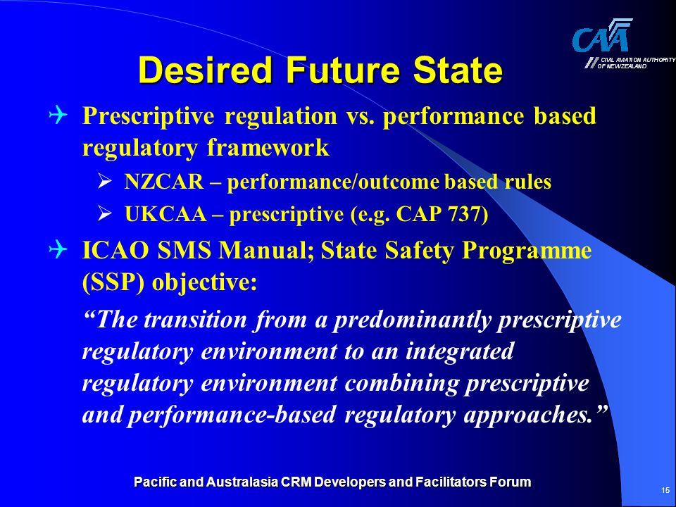 Pacific and Australasia CRM Developers and Facilitators Forum 15 Desired Future State Prescriptive regulation vs. performance based regulatory framewo