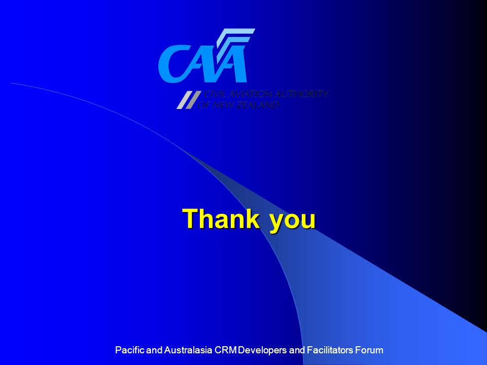 Thank you Pacific and Australasia CRM Developers and Facilitators Forum