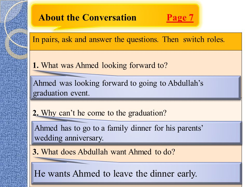 About the Conversation Page 7 In pairs, ask and answer the questions.