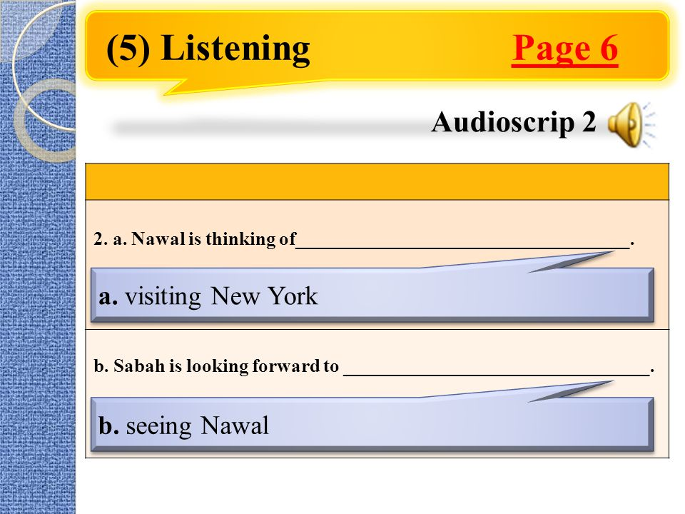 (5) Listening Page 6 2. a. Nawal is thinking of___________________________________.