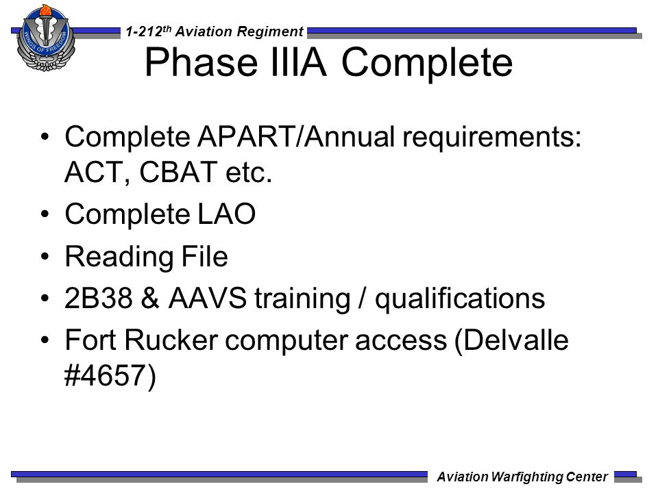 1-212 th Aviation Regiment Aviation Warfighting Center Phase IIIA Complete Complete APART/Annual requirements: ACT, CBAT etc. Complete LAO Reading Fil
