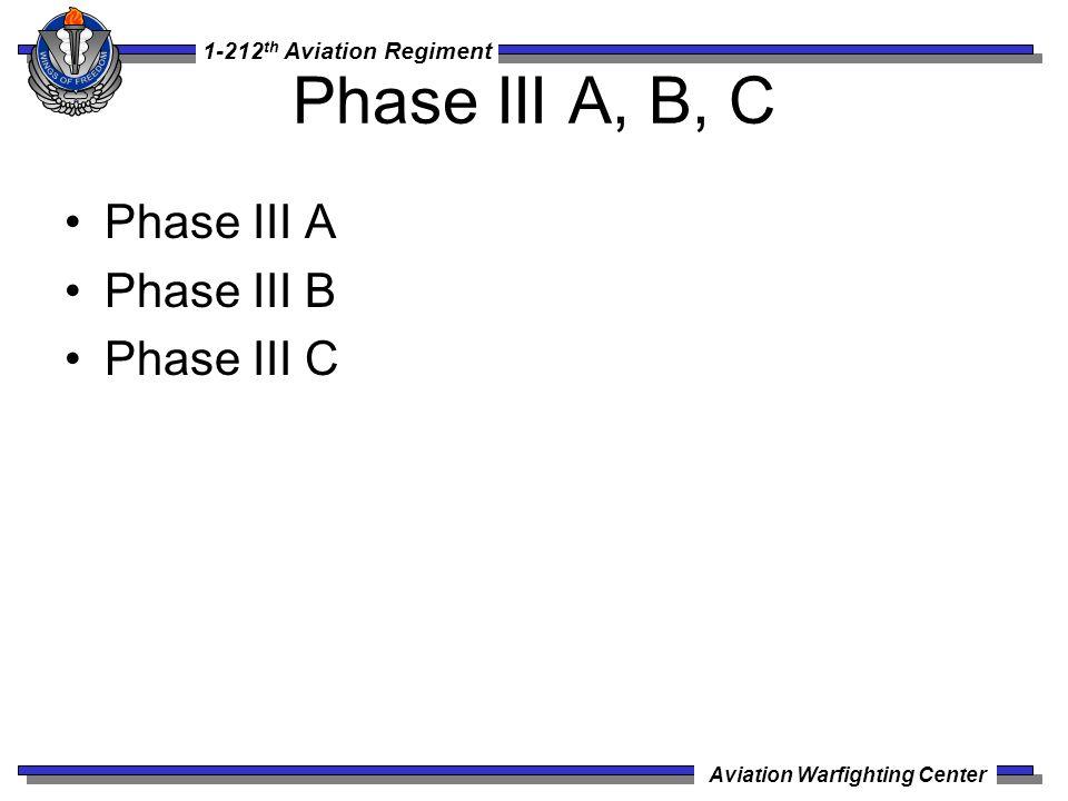 1-212 th Aviation Regiment Aviation Warfighting Center Phase III A, B, C Phase III A Phase III B Phase III C