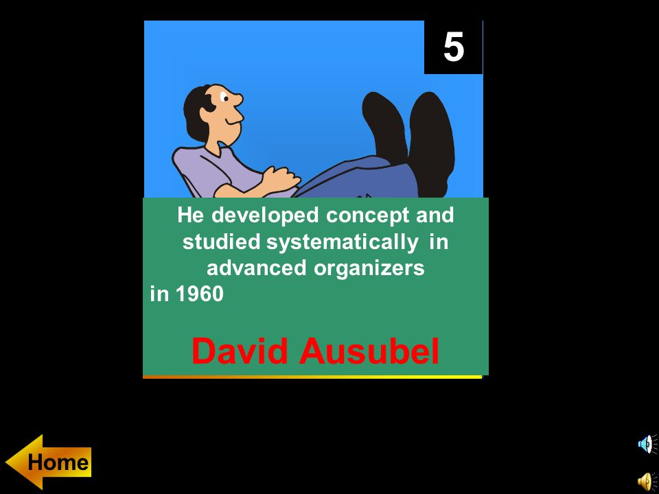5 He developed concept and studied systematically in advanced organizers in 1960 C.