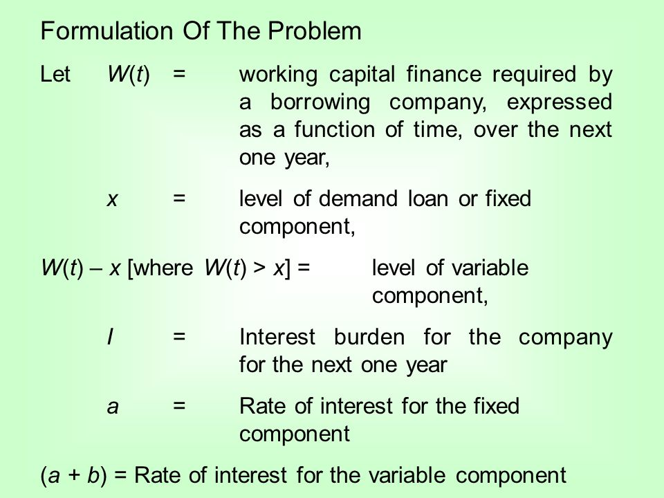 Formulation Of The Problem Let W(t) = working capital finance required by a borrowing company, expressed as a function of time, over the next one year