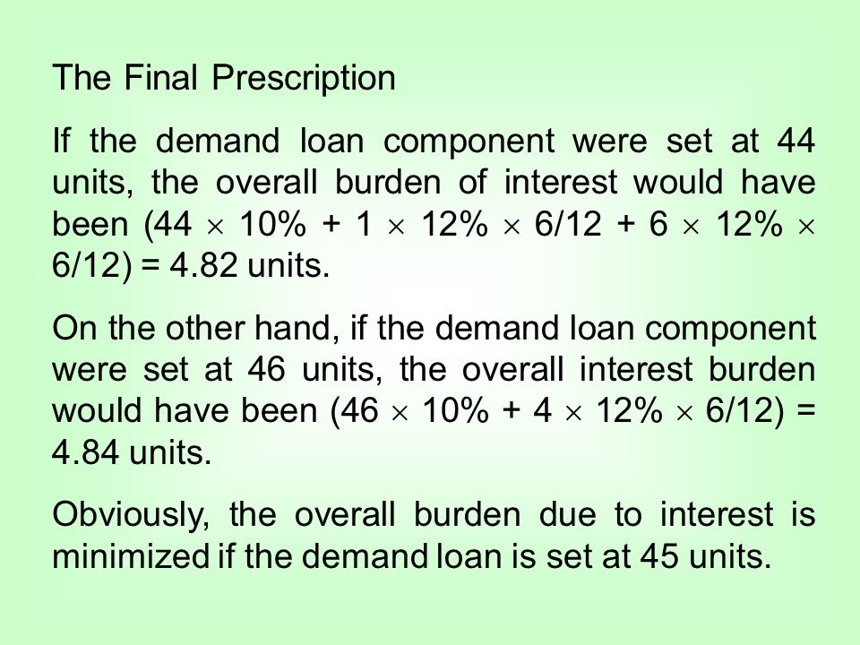 The Final Prescription If the demand loan component were set at 44 units, the overall burden of interest would have been (44 10% + 1 12% 6/12 + 6 12%