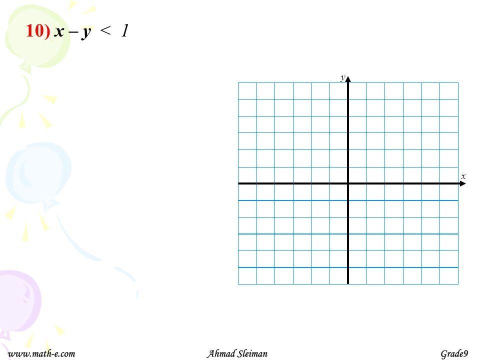10) x – y < 1