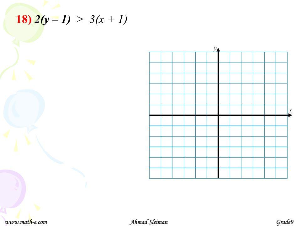 18) 2(y – 1) > 3(x + 1)