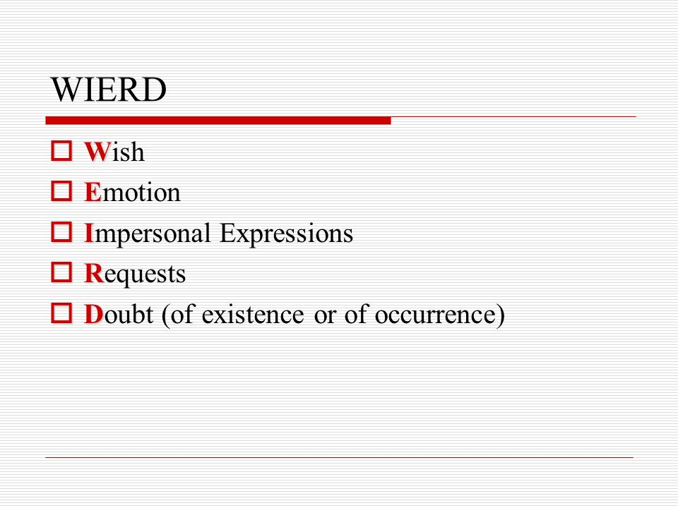 WIERD W Wish E Emotion I Impersonal Expressions R Requests D Doubt (of existence or of occurrence)