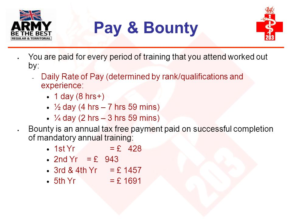 Pay & Bounty You are paid for every period of training that you attend worked out by: Daily Rate of Pay (determined by rank/qualifications and experie