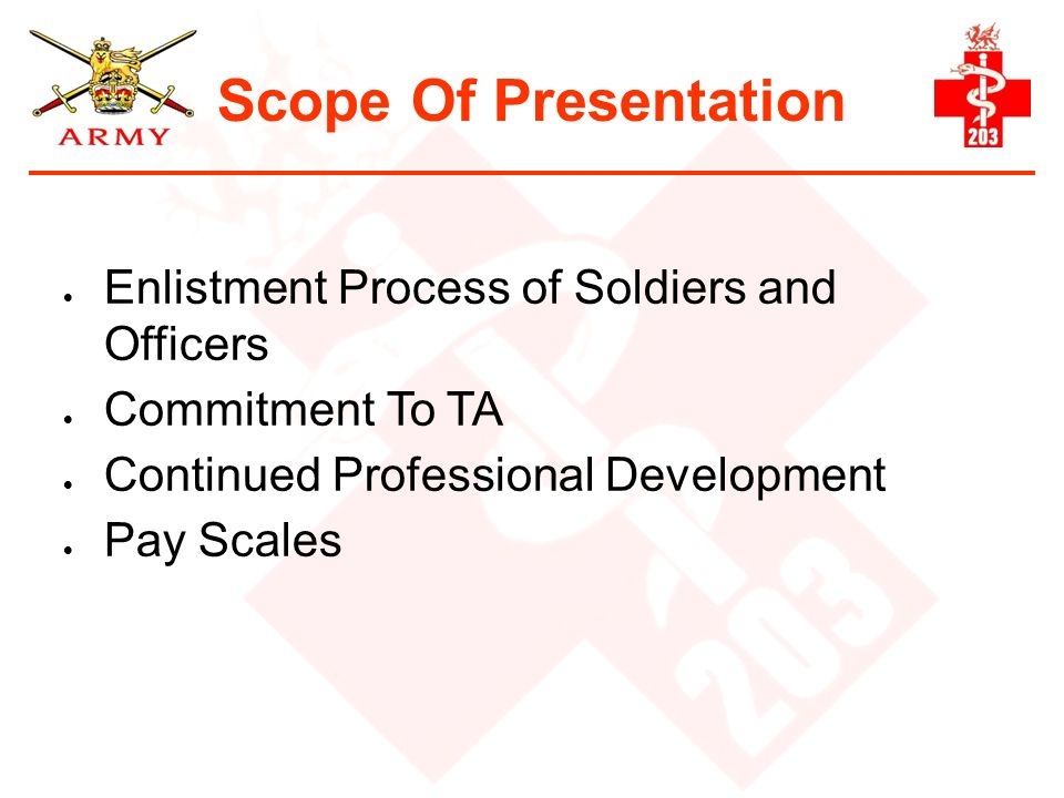 Scope Of Presentation Enlistment Process of Soldiers and Officers Commitment To TA Continued Professional Development Pay Scales
