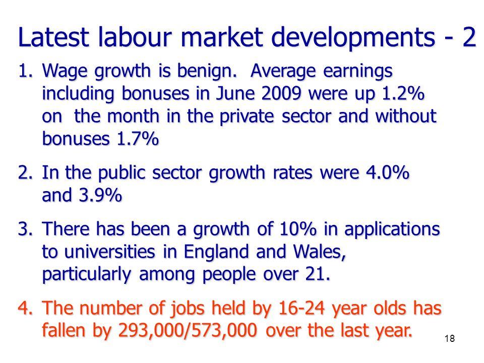 Latest labour market developments - 2 1.Wage growth is benign.