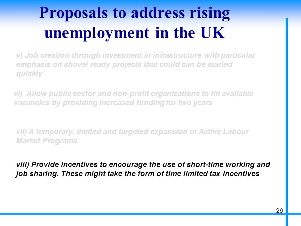 Proposals to address rising unemployment in the UK 29 v) Job creation through investment in infrastructure with particular emphasis on shovel ready projects that could can be started quickly vi) Allow public sector and non-profit organizations to fill available vacancies by providing increased funding for two years vii) A temporary, limited and targeted expansion of Active Labour Market Programs viii) Provide incentives to encourage the use of short-time working and job sharing.