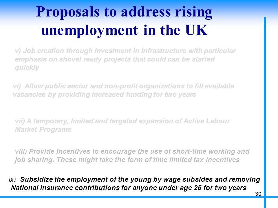 Proposals to address rising unemployment in the UK 30 v) Job creation through investment in infrastructure with particular emphasis on shovel ready projects that could can be started quickly vi) Allow public sector and non-profit organizations to fill available vacancies by providing increased funding for two years vii) A temporary, limited and targeted expansion of Active Labour Market Programs viii) Provide incentives to encourage the use of short-time working and job sharing.