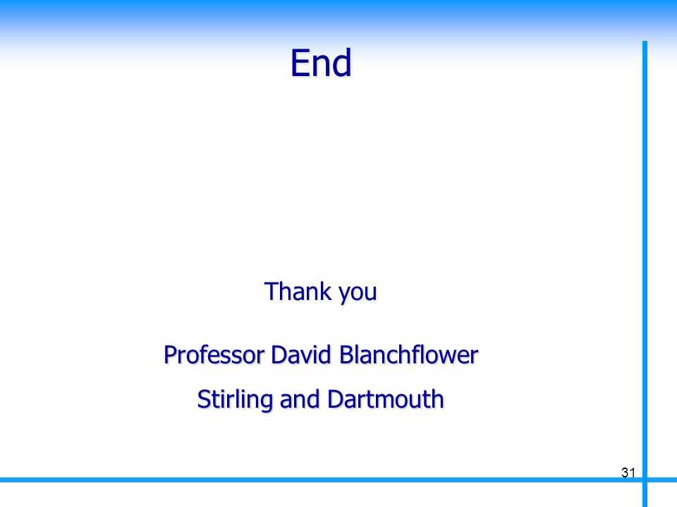 End Professor David Blanchflower Stirling and Dartmouth Thank you 31