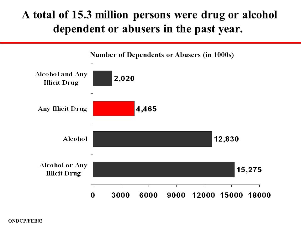 ONDCP/FEB02 A total of 15.3 million persons were drug or alcohol dependent or abusers in the past year. Number of Dependents or Abusers (in 1000s)