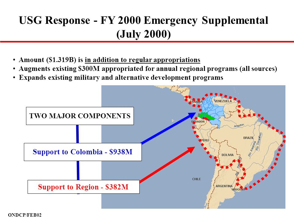 ONDCP/FEB02 USG Response - FY 2000 Emergency Supplemental (July 2000) Amount ($1.319B) is in addition to regular appropriations Augments existing $300
