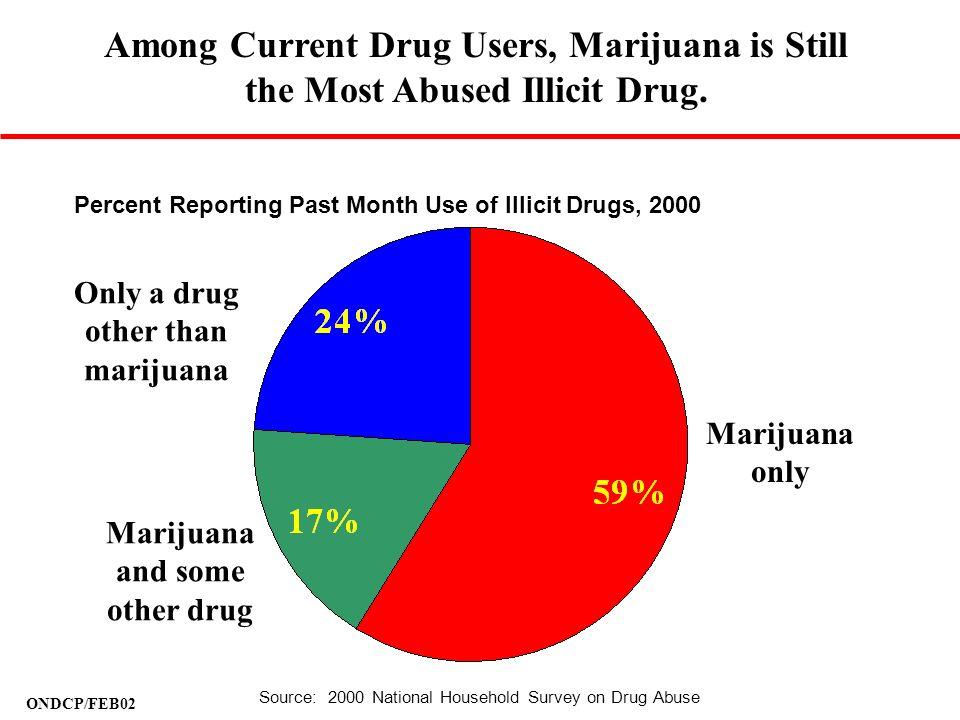ONDCP/FEB02 Marijuana only Marijuana and some other drug Only a drug other than marijuana Among Current Drug Users, Marijuana is Still the Most Abused