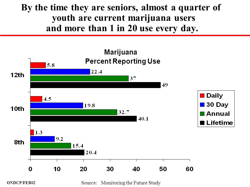 ONDCP/FEB02 By the time they are seniors, almost a quarter of youth are current marijuana users and more than 1 in 20 use every day. Marijuana Percent