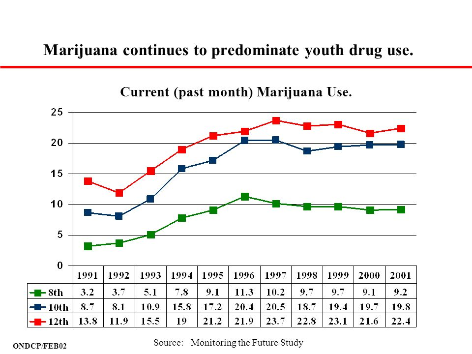 ONDCP/FEB02 Marijuana continues to predominate youth drug use. Current (past month) Marijuana Use. Source: Monitoring the Future Study