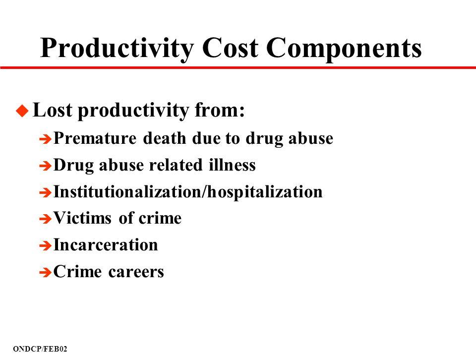 ONDCP/FEB02 Productivity Cost Components u Lost productivity from: è Premature death due to drug abuse è Drug abuse related illness è Institutionaliza