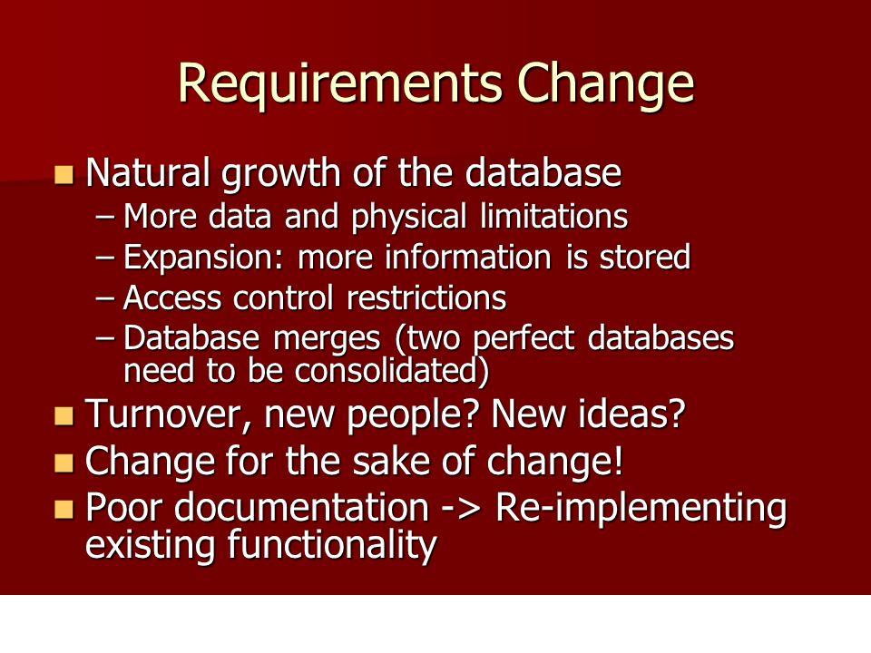 Changes Lead to Database Evolution Database schemata change, i.e.