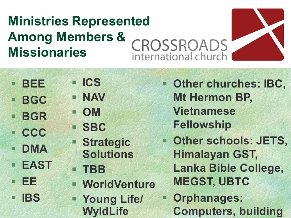 §ICS §NAV §OM §SBC §Strategic Solutions §TBB §WorldVenture §Young Life/ WyldLife §BEE §BGC §BGR §CCC §DMA §EAST §EE §IBS §Other churches: IBC, Mt Hermon BP, Vietnamese Fellowship §Other schools: JETS, Himalayan GST, Lanka Bible College, MEGST, UBTC §Orphanages: Computers, building Ministries Represented Among Members & Missionaries