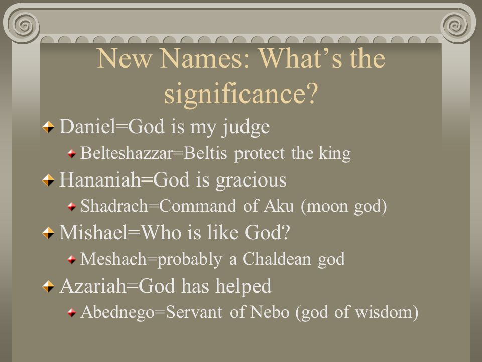 New Names: Whats the significance.