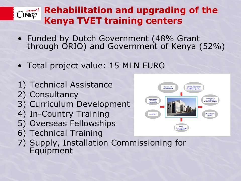 Funded by Dutch Government (48% Grant through ORIO) and Government of Kenya (52%) Total project value: 15 MLN EURO 1)Technical Assistance 2)Consultancy 3)Curriculum Development 4)In-Country Training 5)Overseas Fellowships 6)Technical Training 7)Supply, Installation Commissioning for Equipment Rehabilitation and upgrading of the Kenya TVET training centers