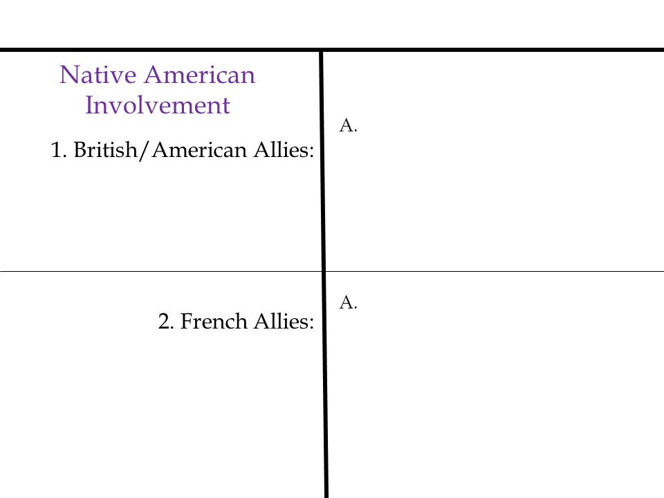 Native American Involvement 1. British/American Allies: A. 2. French Allies: A.