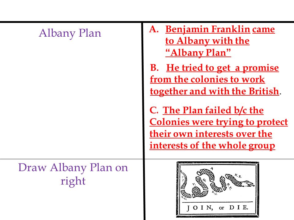 Albany Plan A. Benjamin Franklin came to Albany with theAlbany Plan Draw Albany Plan on right B. He tried to get a promise from the colonies to work t