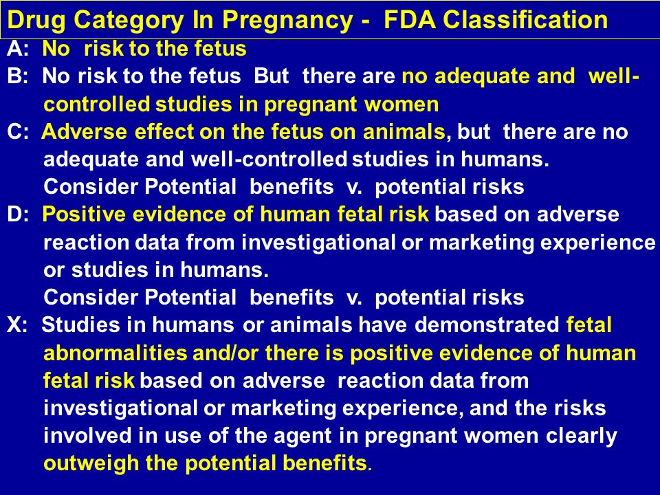 A: No risk to the fetus B: No risk to the fetus But there are no adequate and well- controlled studies in pregnant women C: Adverse effect on the fetu