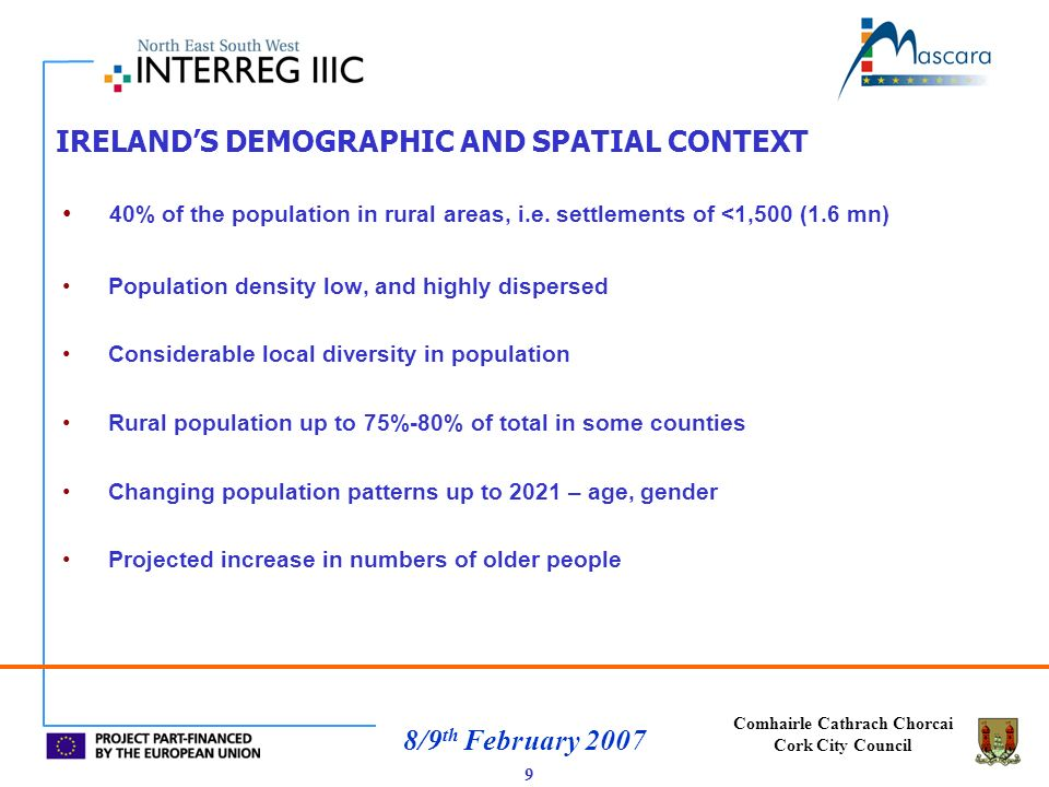 Comhairle Cathrach Chorcai Cork City Council 8/9 th February 2007 IRELANDS DEMOGRAPHIC AND SPATIAL CONTEXT 40% of the population in rural areas, i.e.