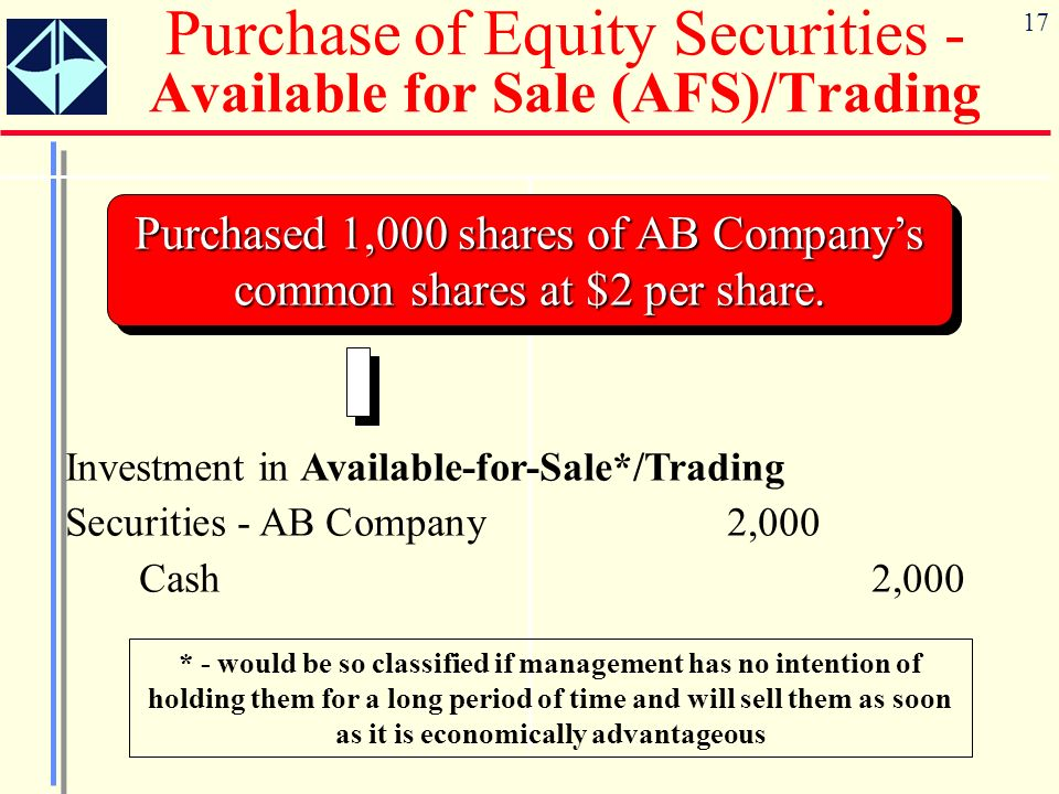 17 Purchase of Equity Securities - Available for Sale (AFS)/Trading Purchased 1,000 shares of AB Companys common shares at $2 per share. Investment in