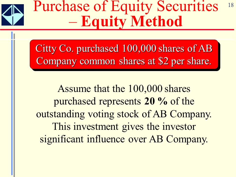 18 Citty Co. purchased 100,000 shares of AB Company common shares at $2 per share. Purchase of Equity Securities – Equity Method Assume that the 100,0