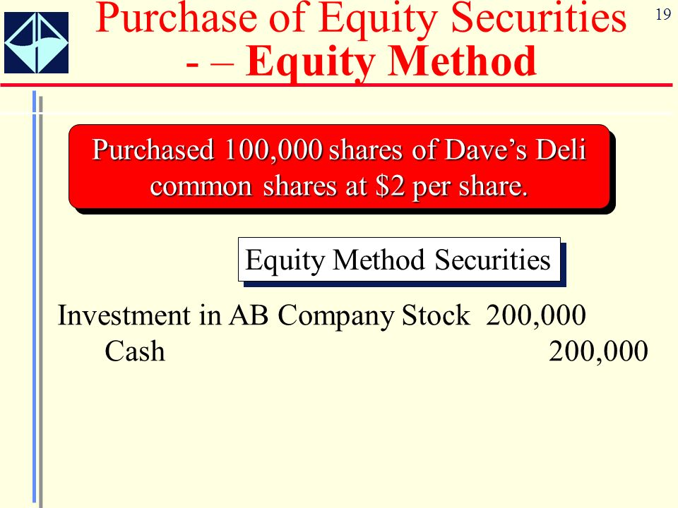 19 Purchased 100,000 shares of Daves Deli common shares at $2 per share. Equity Method Securities Investment in AB Company Stock 200,000 Cash 200,000