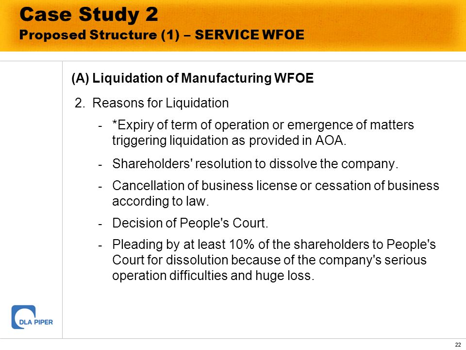 22 Case Study 2 Proposed Structure (1) – SERVICE WFOE (A)Liquidation of Manufacturing WFOE 2.Reasons for Liquidation - *Expiry of term of operation or