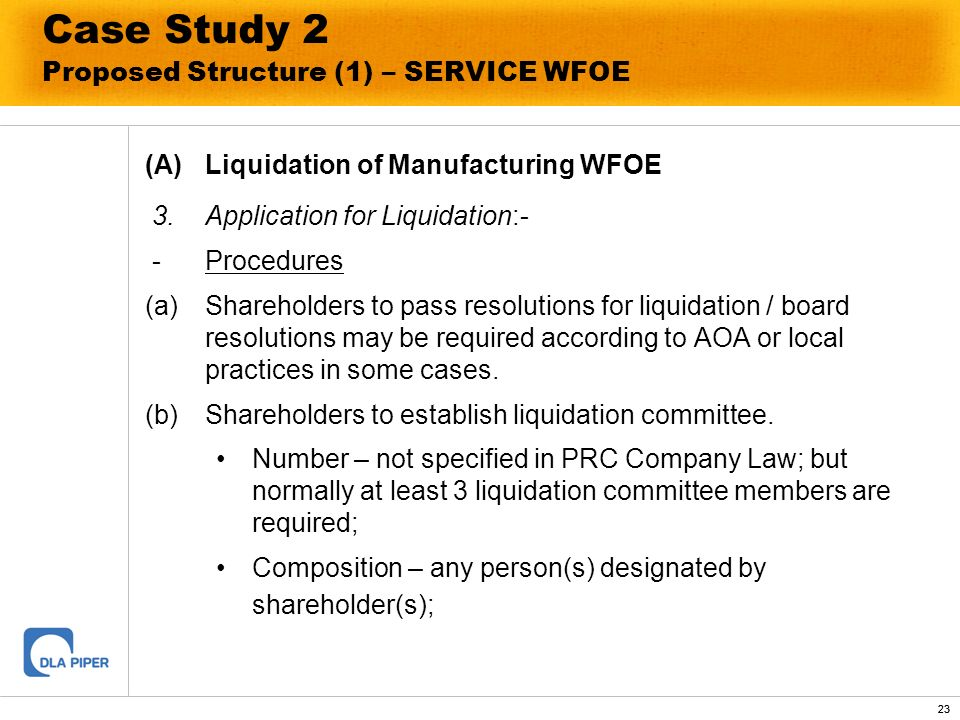 23 Case Study 2 Proposed Structure (1) – SERVICE WFOE (A)Liquidation of Manufacturing WFOE 3.Application for Liquidation:- -Procedures (a)Shareholders