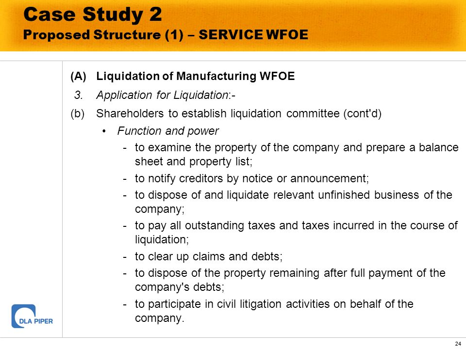 24 Case Study 2 Proposed Structure (1) – SERVICE WFOE (A)Liquidation of Manufacturing WFOE 3.Application for Liquidation:- (b)Shareholders to establis