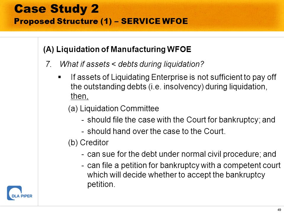 49 Case Study 2 Proposed Structure (1) – SERVICE WFOE (A) Liquidation of Manufacturing WFOE 7. What if assets < debts during liquidation? If assets of