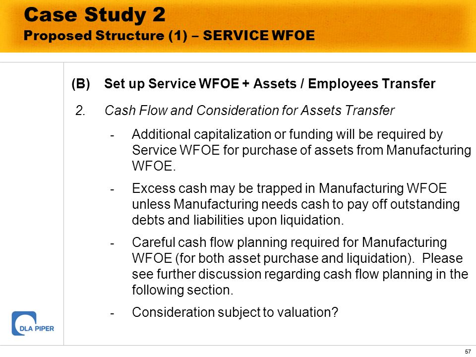 57 Case Study 2 Proposed Structure (1) – SERVICE WFOE (B)Set up Service WFOE + Assets / Employees Transfer 2.Cash Flow and Consideration for Assets Tr