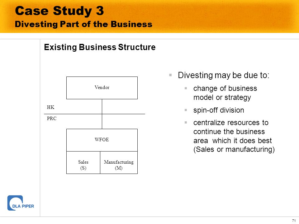 71 Case Study 3 Divesting Part of the Business Existing Business Structure Divesting may be due to: change of business model or strategy spin-off divi