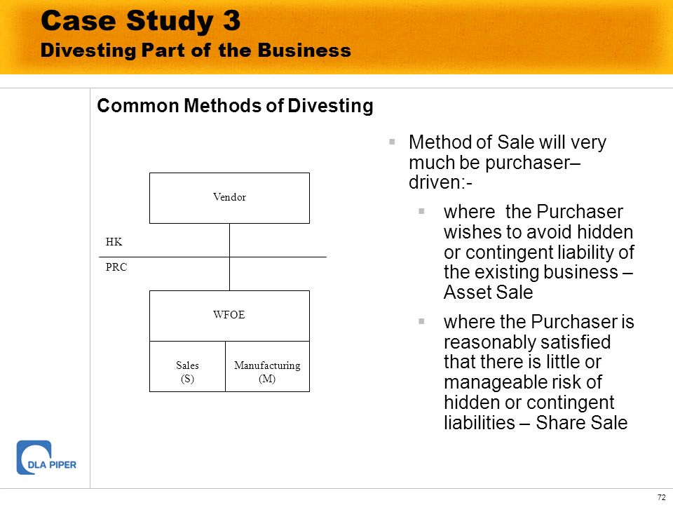 72 Common Methods of Divesting Vendor WFOE Sales (S) Manufacturing (M) HK PRC Method of Sale will very much be purchaser– driven:- where the Purchaser