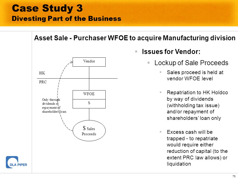 75 Case Study 3 Divesting Part of the Business Asset Sale - Purchaser WFOE to acquire Manufacturing division Issues for Vendor: Lockup of Sale Proceed