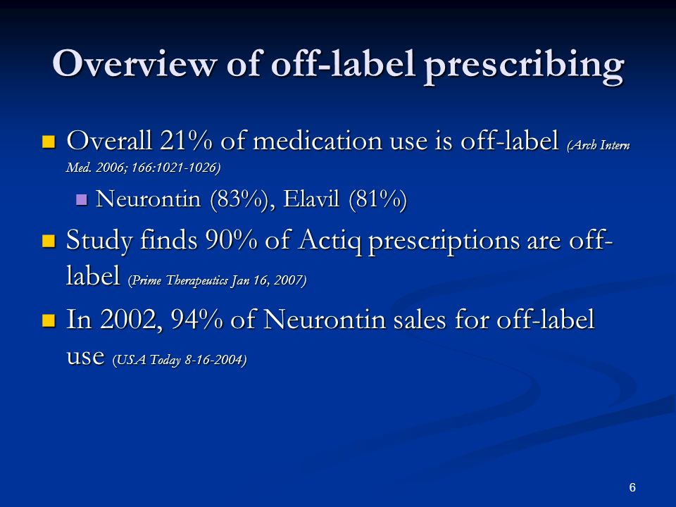 6 Overview of off-label prescribing Overall 21% of medication use is off-label (Arch Intern Med.